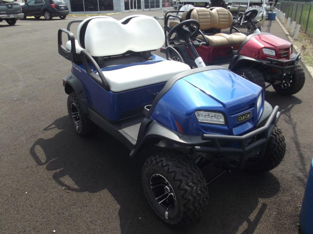 blue electric club car golf cart