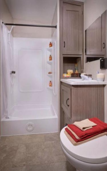 bathroom in coachmen adrenaline