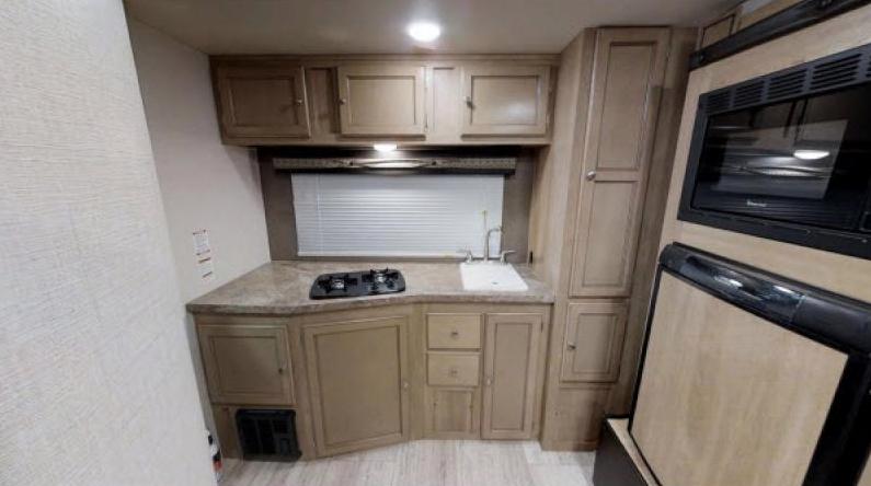 kitchen in real lite travel trailer