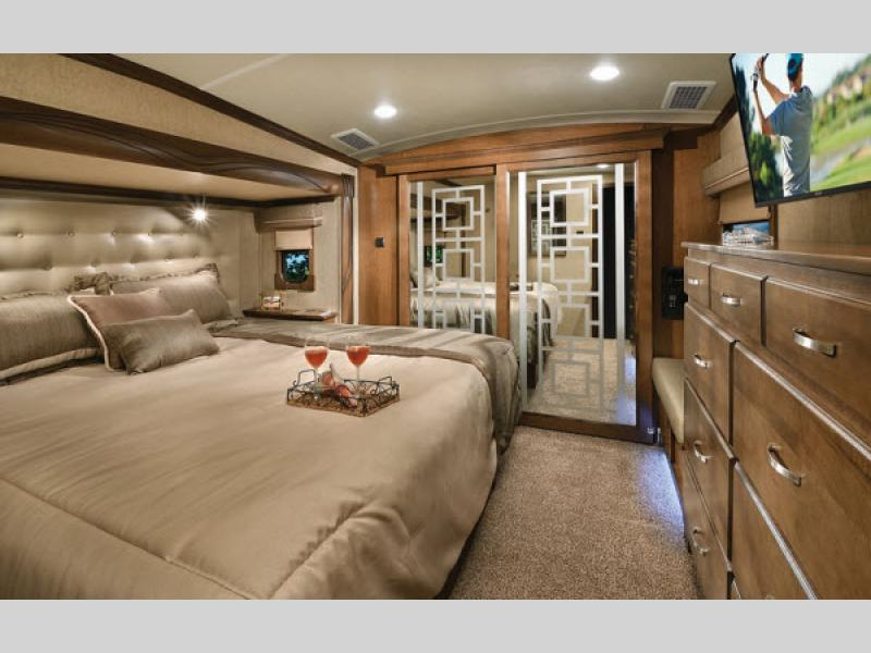 Cedar Creek Champagne Edition Fifth Wheels Master Bed