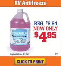 Wilkins RV Parts and Service Antifreeze Sale