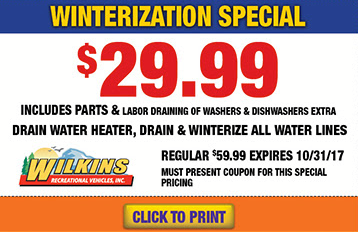 Wilkins RV Parts and Service Winterization Sale