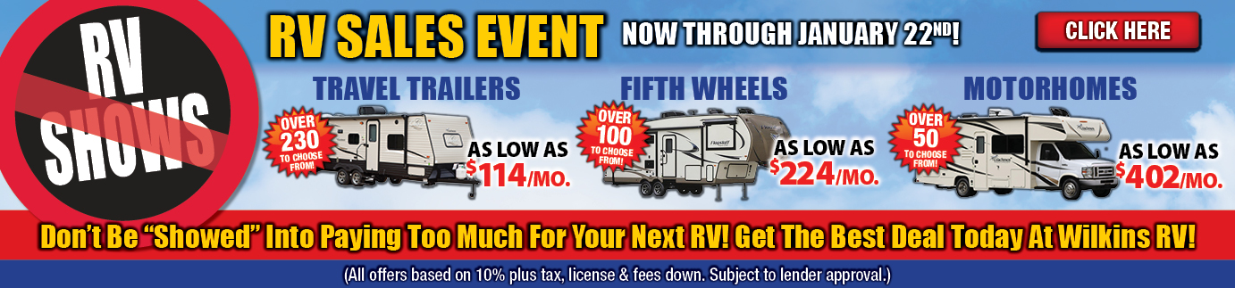 Wilkins RV No Show Sale Banner