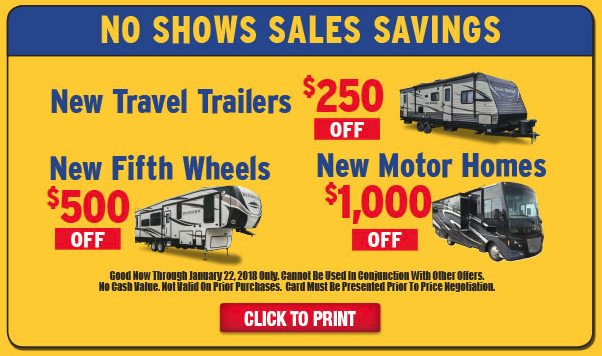 Wilkins RV No Show Sale Special Savings