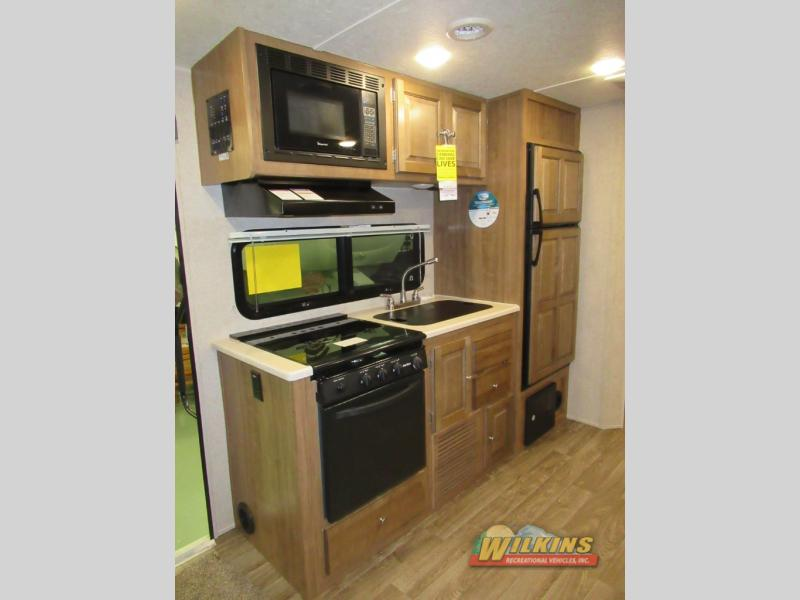 Flagstaff Shamrock Expandable Hybrid Camper RV Travel Trailer Kitchen