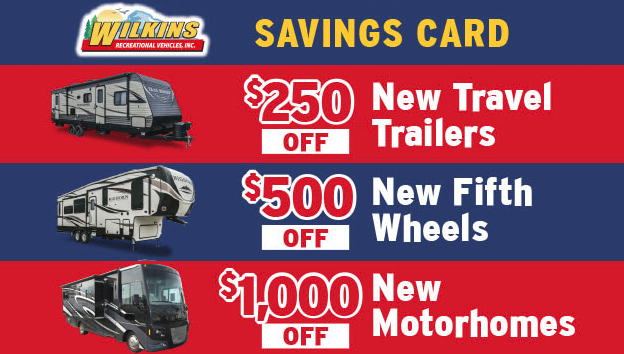 Wilkins RV Memorial Day Sale Savings Card