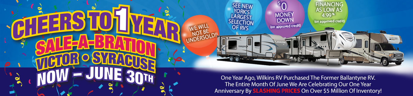 Wilkins RV Victor Syracuse One Year Anniversary Sale - rv sale