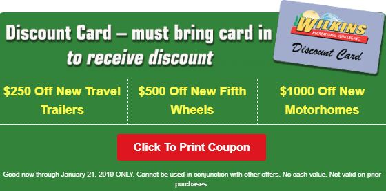 RV Show Wilkins RV No RV Show Sales Discount Card