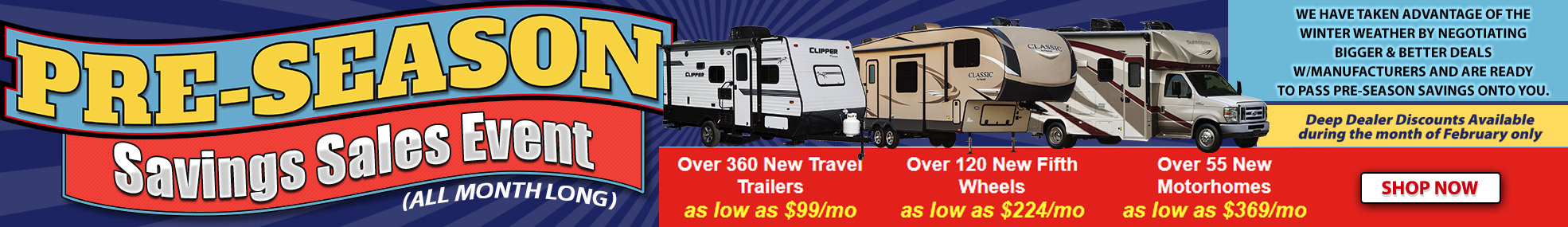 Pre-Season RV Sale Wilkins RV Banner