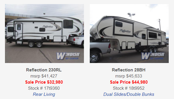 Grand Design Reflection Travel Trailers and Fifth Wheels Sale