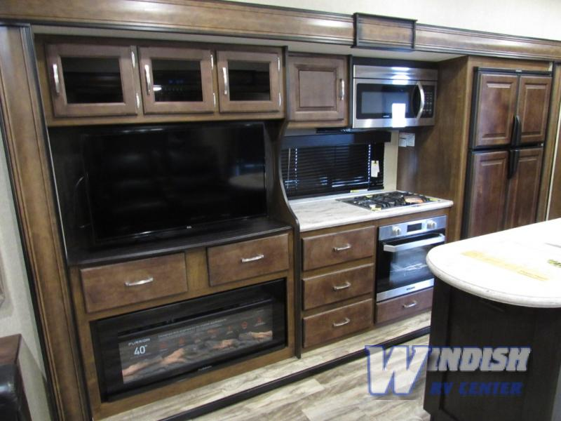 Grand Design Reflection RV Kitchen Fireplace