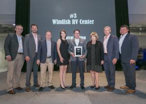 Pictured (from left to right): Justin Humphreys – COO Airstream, Bryan Melton - GM Travel Trailers Airstream, Brent Rudd – Regional Sales Manager Airstream, Whitney Holtz – VP Operations Windish RV, Corey Shaw – GM Windish RV, Carolyn Irwin – President Windish RV, Bob Wheeler – President & CEO Airstream, Lenny Razzo – VP Sales Airstream