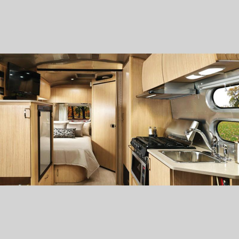 Airstream Flying Cloud Interior Bed and Kitchen