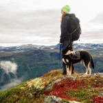 Hiking dog and owner